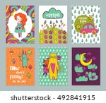 autumn funny hand drawn cards... | Shutterstock .eps vector #492841915