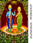lord rama and sita for happy... | Shutterstock .eps vector #492842419