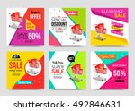 Collection of modern sale banner template. Vector illustrations. | Shutterstock vector #492846631