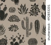 cactus seamless pattern.... | Shutterstock .eps vector #492853201