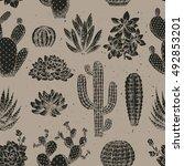 cactus seamless pattern.... | Shutterstock .eps vector #492853201