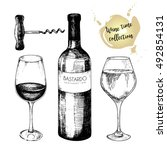 vector set of wine collection.... | Shutterstock .eps vector #492854131