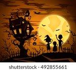 halloween castle in mystic... | Shutterstock .eps vector #492855661