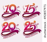 10  15  20 and 25th years... | Shutterstock .eps vector #492857971