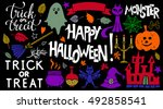 halloween icons set. happy... | Shutterstock .eps vector #492858541