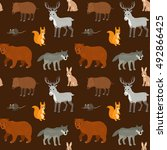 seamless pattern with cartoon... | Shutterstock .eps vector #492866425