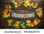 november lettering on paper... | Shutterstock . vector #492866974