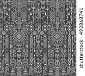 seamless ethnic pattern with... | Shutterstock .eps vector #492868741