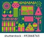vector illustration of happy... | Shutterstock .eps vector #492868765