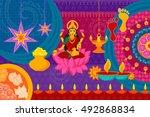 vector illustration of happy... | Shutterstock .eps vector #492868834