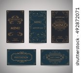 set of vintage luxury greeting... | Shutterstock .eps vector #492872071