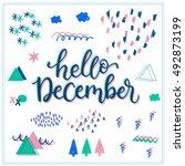 hello december  memphis design... | Shutterstock .eps vector #492873199