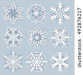 crystal snowflakes   vector set ... | Shutterstock .eps vector #492876217