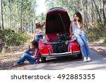 friends on a roadtrip having a...   Shutterstock . vector #492885355