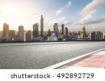 city road with cityscape and... | Shutterstock . vector #492892729