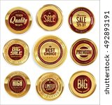 golden retro vintage badges... | Shutterstock .eps vector #492893191