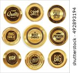 golden retro vintage badges... | Shutterstock .eps vector #492893194