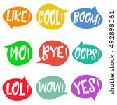 set of nine different  colorful ... | Shutterstock .eps vector #492898561