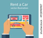 rent car  concept. man holding... | Shutterstock .eps vector #492898987