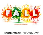 text fall in frame in paper... | Shutterstock .eps vector #492902299