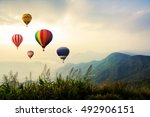 colorful hot air balloons... | Shutterstock . vector #492906151