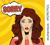 sorry. stressed beautiful girl... | Shutterstock .eps vector #492907921