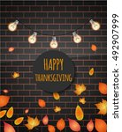 happy thanksgiving text on the... | Shutterstock .eps vector #492907999