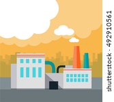 air pollution concept. factory... | Shutterstock . vector #492910561