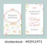 wedding set. romantic vector... | Shutterstock .eps vector #492911971