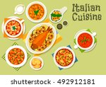 italian cuisine icon with... | Shutterstock .eps vector #492912181