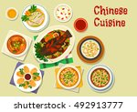 chinese cuisine oriental dishes ... | Shutterstock .eps vector #492913777