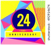 24th years greeting card... | Shutterstock .eps vector #492914674