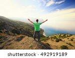 traveler in the mountain.... | Shutterstock . vector #492919189
