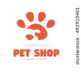 dog pet shop simple logo icon... | Shutterstock .eps vector #492923401