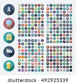 flat design icons for business  ... | Shutterstock . vector #492925339