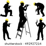workers with drill silhouette | Shutterstock .eps vector #492927214