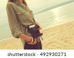 fashionable woman holding... | Shutterstock . vector #492930271