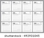 2018 calendar planner design. | Shutterstock .eps vector #492931045