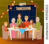big family at holiday dinner... | Shutterstock .eps vector #492932311