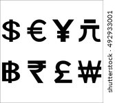 various currencies signs.... | Shutterstock .eps vector #492933001