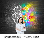 dreamy girl with black hair... | Shutterstock . vector #492937555
