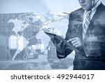 double exposure of businessman...   Shutterstock . vector #492944017