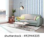 modern bright interior . 3d... | Shutterstock . vector #492944335