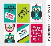 set of 6 cute owl creative... | Shutterstock .eps vector #492949915
