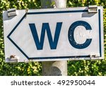 sign for wc in park | Shutterstock . vector #492950044