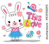 Cute Cartoon Rabbit Girl...