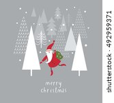 christmas card with santa ... | Shutterstock .eps vector #492959371