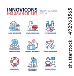 types of insurance   modern... | Shutterstock . vector #492963565