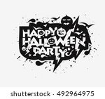 happy halloween greeting card... | Shutterstock .eps vector #492964975