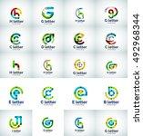 set of internet letter logo... | Shutterstock . vector #492968344